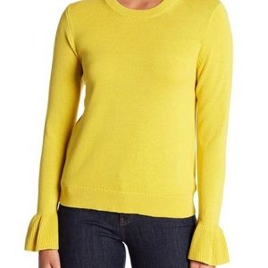 J. CREW | yellow cotton ruffle cuff sweater s
